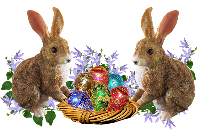 Easter, Rabbits, Eggs, Basket