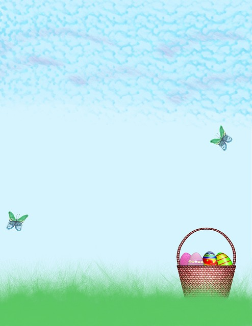 Sky, Spring, Springtime, Nature, Easter, Basket, Eggs