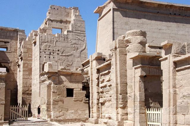 Egypt, Thebes, Medinet-habu, Temple, Hieroglyphs, Tower