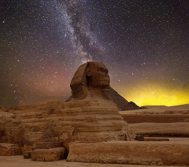 Star, Night Sky, Pyramids, Sphinx, Egypt, Starry Sky