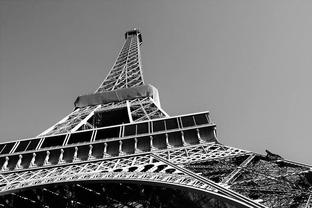 Monument, Eiffel Tower, Paris, Black And White