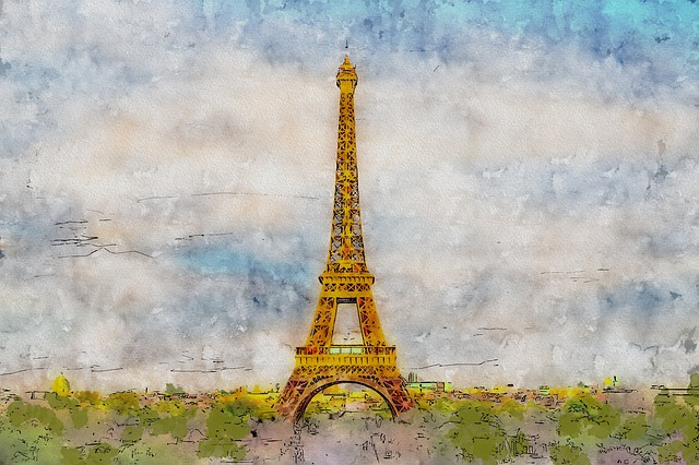 Paris, Eiffel Tower, France, Illustration, Watercolor