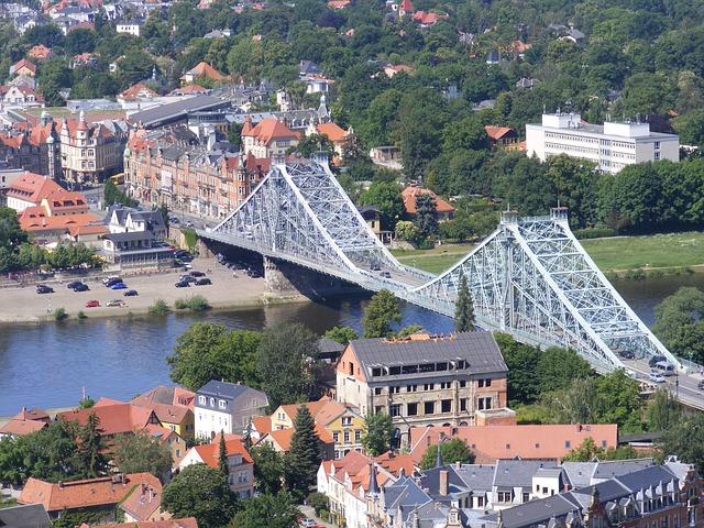 Bridge, Steel Bridge, Dresden, Elbe Bridge, Blue Wonder