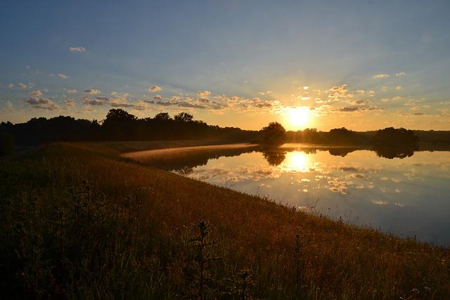 Elbe, River, Sunrise, Flood 2012