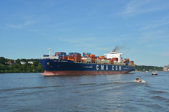 Technology, Container Ship, Vessel, Elbe, Cgm