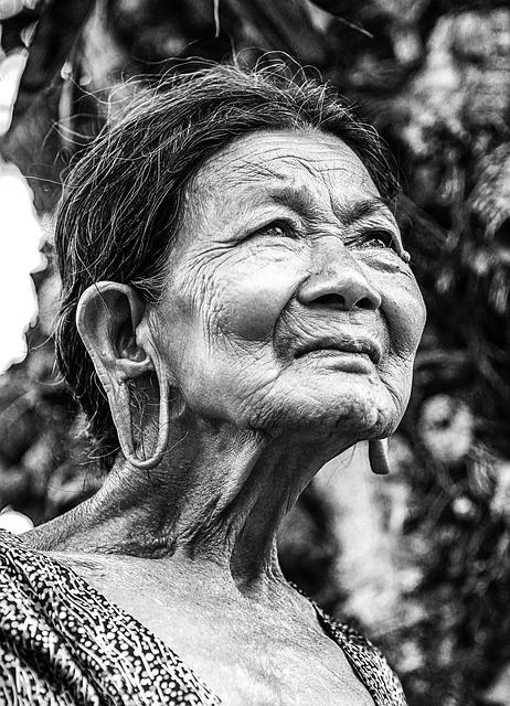 Old Woman, Portrait, Vietnam, Black And White, Elderly