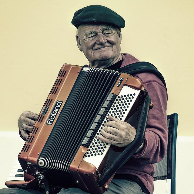 Accordion, Elderly, Man, Music, Musical Instrument
