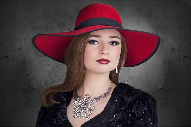 Woman, Jewelry, Hat, Elegance, Silver, Red, Retro