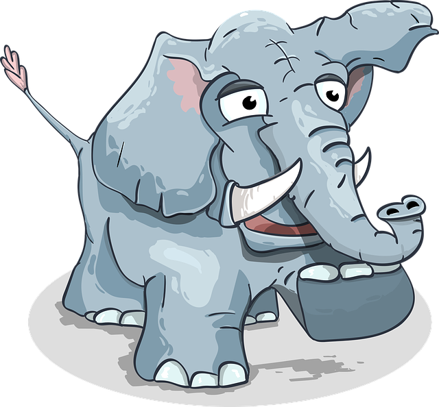 Elephant, Cartoon, Steps, Baby Elephant, Funny, Animal