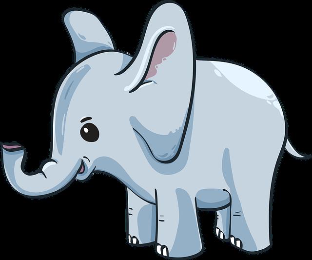 Baby Elephant, Elephant, Cute, Blue, Kid, Cartoon