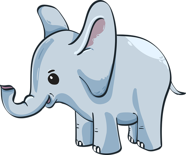 Baby Elephant, Elephant, Cute, Blue, Kid, Cartoon