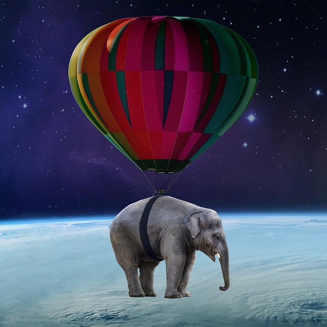 Elephant, Balloon, Satellite, Clouds, Orbit, Space Art