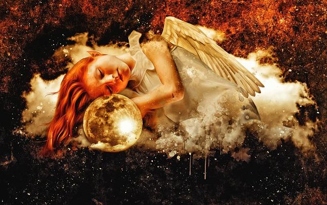 Angel, Elf, Girl, Young, Fantasy, Dark, Moon, Cloud
