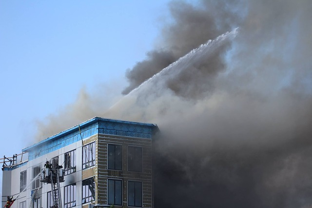 Fire, Building, Hose, Emergency, City, Architecture