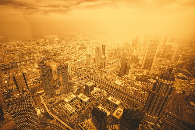 Dubai, Emirates, View, Landscape, Gold, Skyline, Arab