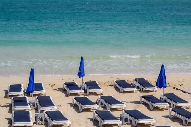 Beach, Empty, Sea, Travel, Vacation, Sunbeds, Umbrellas