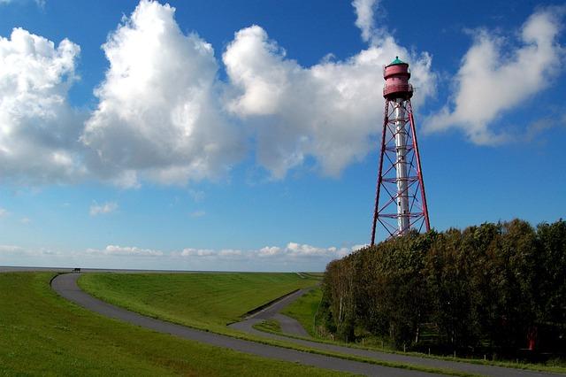 Camping, Lighthouse, East Frisia, Ems, Emden, Leitfeuer