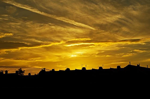 Sunset, Background, Houses, House, City, England