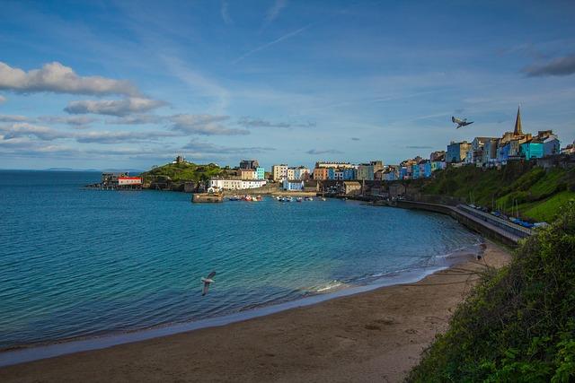 Bay, Beach, Ocean, Tenby, England