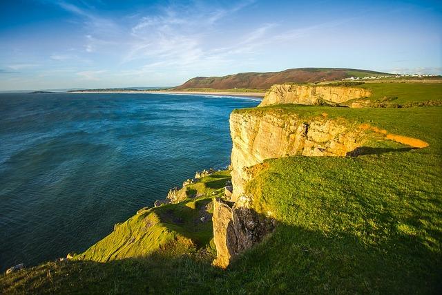 Reefs, Ocean, Height, Coast, Wales, England