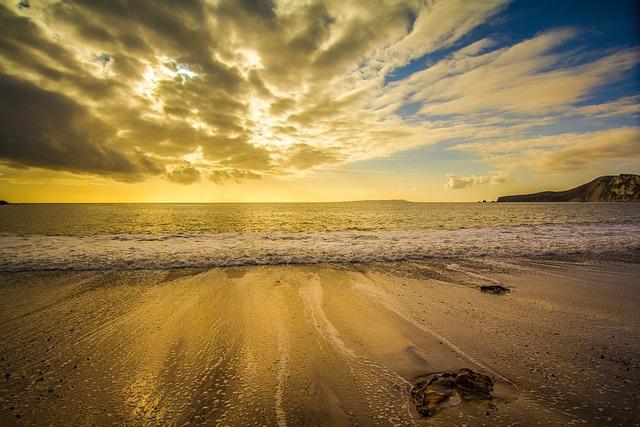 Dorset, England, Worbarrow Bay, Sunset