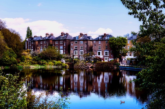 London, England, Great Britain, Houses, Homes, Lake