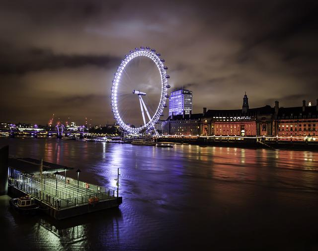 London, London Eye, Night, England, City, Landmark
