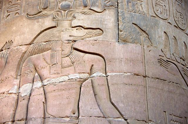 Egypt, Kom-ombo, Temple, Engraving, Sobek, Gods