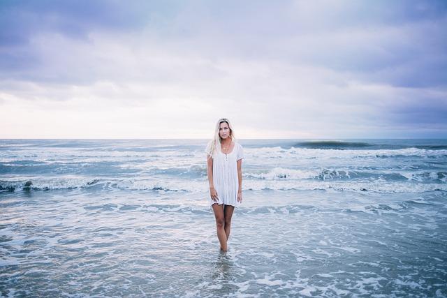 Beach, Beautiful, Blonde, Clouds, Enjoyment, Female