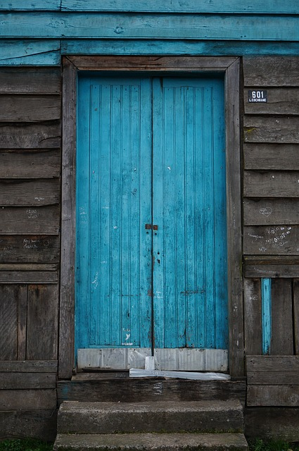 Blue, Door, Entrance, Rustic