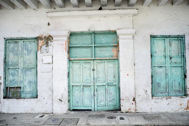 Turquoise, Doors, Wooden, Old, Painted, Front, Entrance