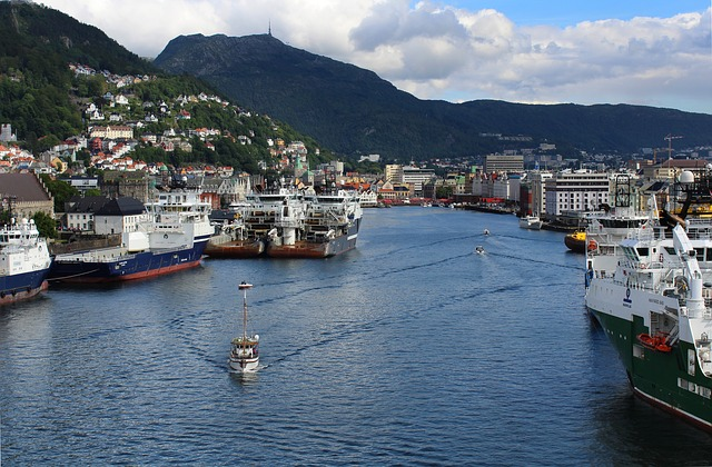 Bergen, Entry, Port, Norway, Bay, Ships, Industrial