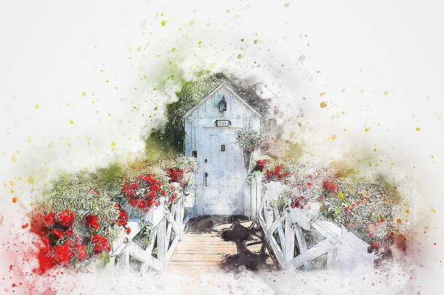 Door, Flowers, Entry Path, Art, Abstract, Watercolor
