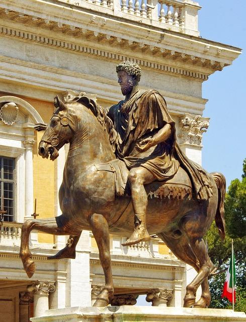 Italy, Rome, Jumper, Bronze, Statue, Equestrian