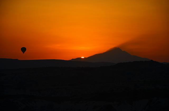 Erciyes, See, Silhouette, Panoramic, Smoke, Balloon