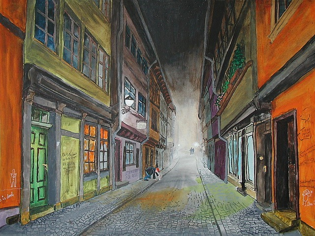 Painting, Erfurt, Chandler Bridge, Bridge, Alley, Night