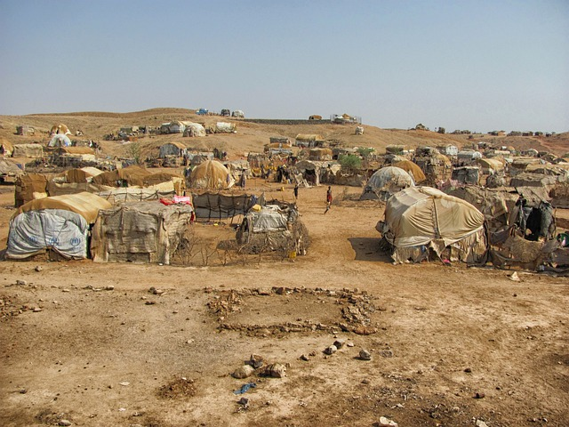 Eritrea, Landscape, Tents, Huts, Refugee Camp, Somalis