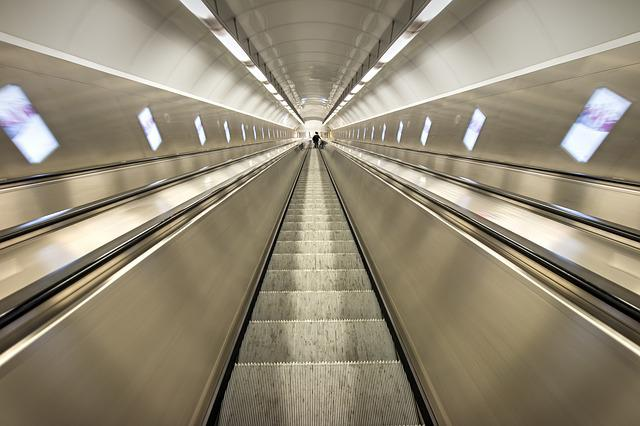 Escalator, Perspective, Tube, Tunnel