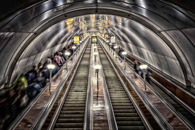 Metro, St Petersburg, Tube, Tunnel, Stairs, Escalator
