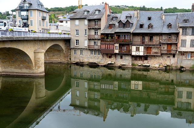River, Reflection, Architecture, Bridge, Espalion