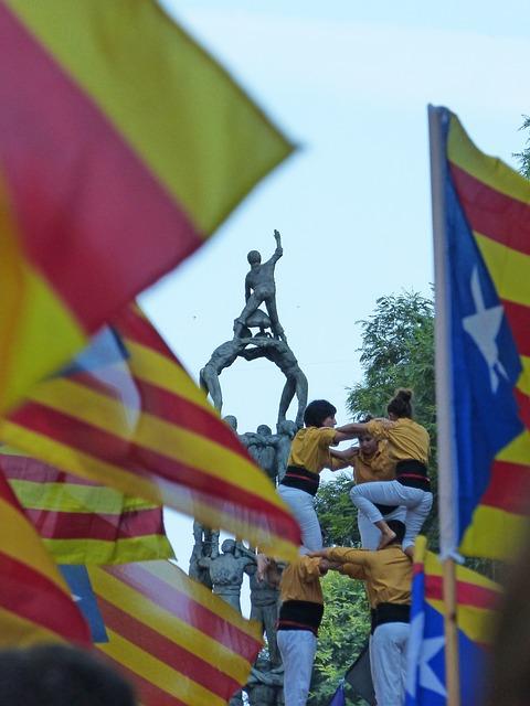 Castells, Castellers, Estelada, Symbol, Catalunya, Dyad