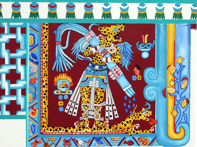 Mexico, Puebla, Mural, Ethnic, Aztec, Decoration, Art