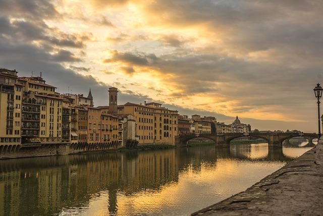 Florence, Italy, Arno River, Sunset, Reflection, Europe