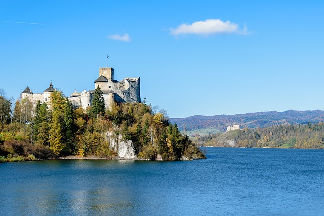 Old Castle, Lake, Mountains, Landscape, The Sun, Europe