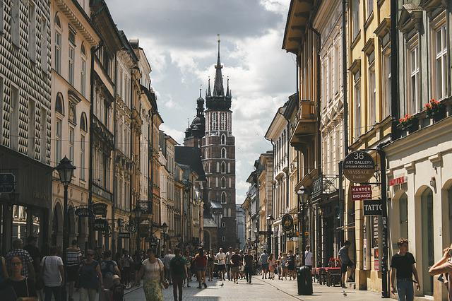 Street, Tower, Krakow, Poland, Tourism, Europe