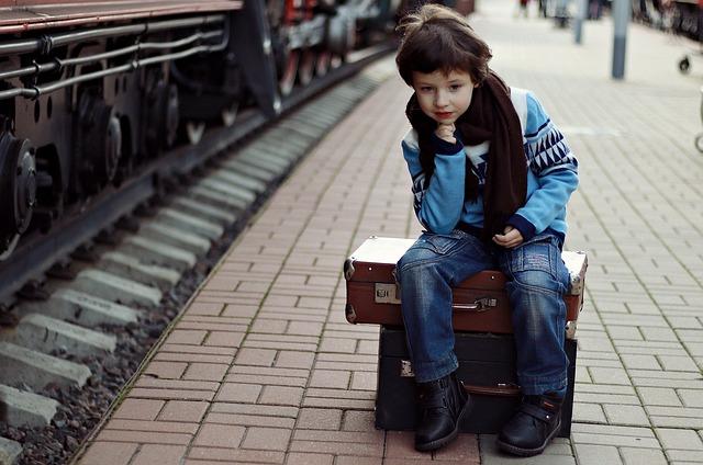 Boy, Suitcase, Sitting, European Boy, Schoolboy