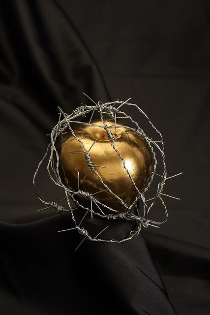 Adam, Eve, Apple, Gold, Painted, Forbidden Fruit