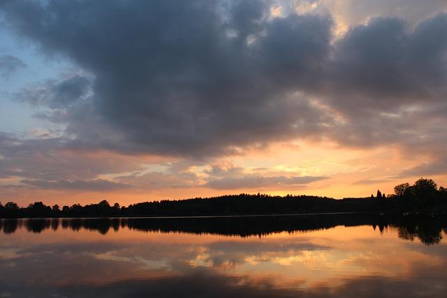 Evening Sky, Lake, Sunset, Evening Calm, Idyll, Water