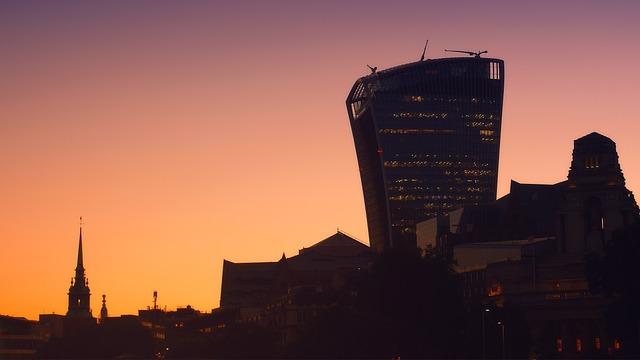 London, City, Skyscrapers, Modern, Silhouette, Evening