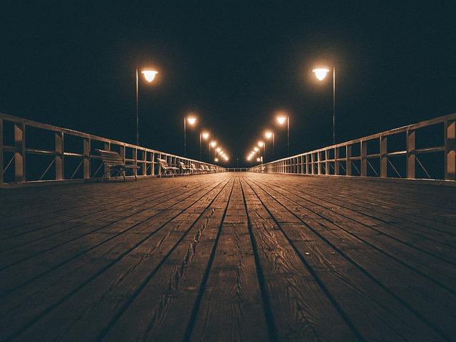 Wood, Boardwalk, Pier, Dock, Night, Evening, Foggy